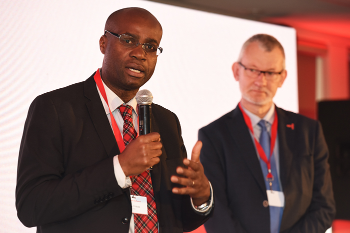 Professor Kelly Chibale, director of UCT's Drug Discovery and Development Centre, speaking at the official launch in Cape Town of Johnson & Johnson's Global Public Health (GPH) Strategy and New GPH Operations in Africa. He shared the stage with Dr Wim Parys, global head of Global Public Health Research & Development, Janssen.