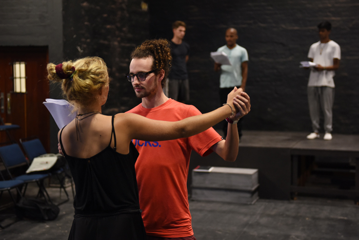 Phoebe Alice Ritchie and Zeno Jacobs practising a dance routine during Langalibalele rehearsals.