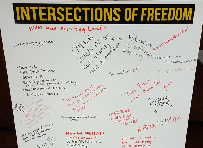 "Students and staff expressed their thoughts about what freedom means in South Africa during the ""Intersections of Freedom"" event held on the health sciences campus."