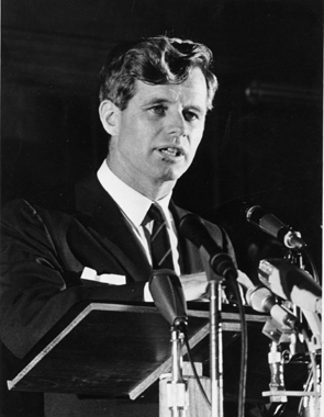 Robert F Kennedy at the podium in Jameson Hall in 1966.