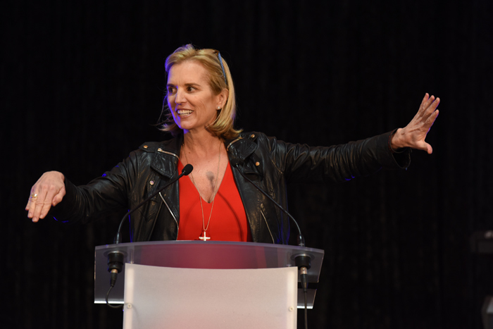 Kerry Kennedy, Robert F Kennedy's daughter, gave the keynote address at the 'Ripple of Hope' event in Jameson Hall at UCT.