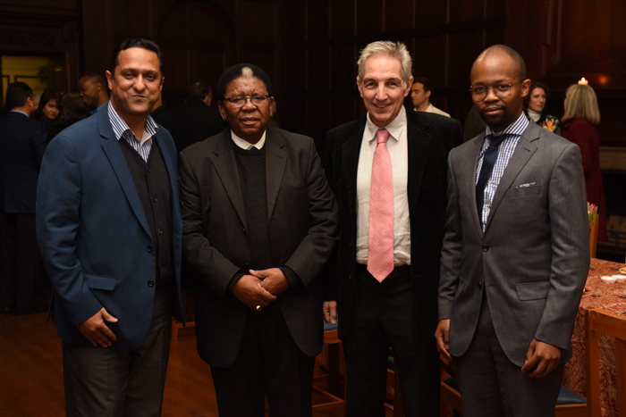 Outgoing Council chair Archbishop Njongonkulu Ndungane (second from left) with registrar Royston Pillay, Vice-Chancellor Dr Max Price and SRC president Rorisang Moseli.