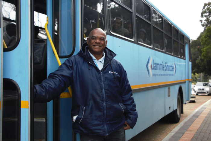 Jammie Shuttle driver Nazeem Mobarah, known around campus for his infectious smile, has been at UCT for 11 years. He was one of many to be insourced earlier this month.