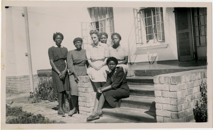 Monica Wilson's first academic post was at Fort Hare where she was also warden of the women's hostel, Elukhanyisweni ('Eluk'). This picture was taken in 1946. From left: Gaositwe Chiepe, Jeanette Sello, Monica Wilson, Violet Nikani, Beatricxe Ntloko and Eunice Kuzwayo.