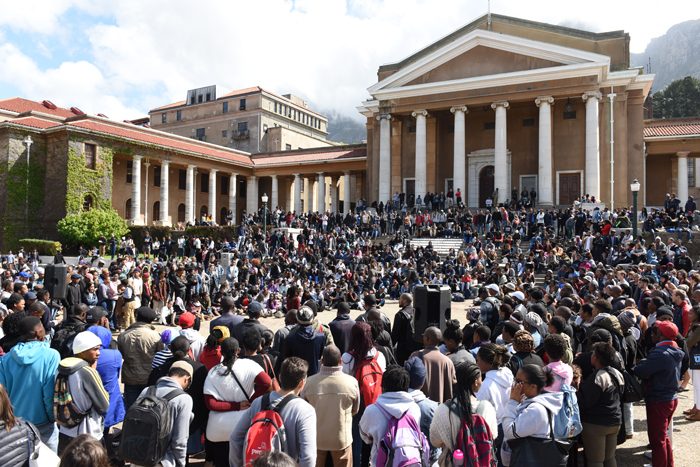 Students at a protest meeting outside Jameson Hall on Thursday, 15 September. Photo: Michael Hammond.