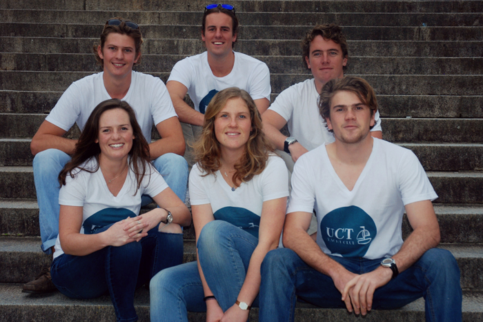These six members of the UCT Yacht Club will be competing in the Cape 2 Rio yacht race, which takes place in January. (Top from left) Peter Marsh, Murray Willcocks, Matt Whitehead. (Bottom from left) Mikhayla Bader, Heidi Burger, Alex Lehtinen.