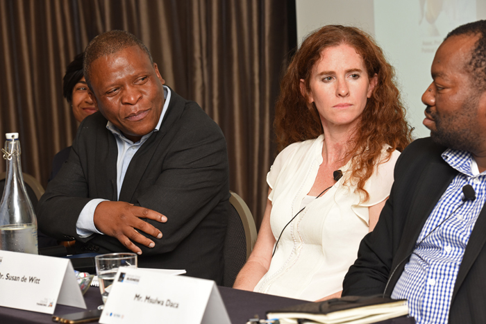 (From left) Director-designate of the Graduate School of Business, Assoc Prof Mills Soko, and Dr Susan de Witt (Bertha Centre) listen as Msulwa Daca (National Student Financial Aid Scheme) makes a point at the GSB round table on higher education.