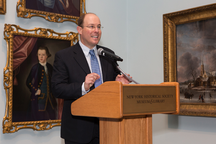 "Assoc Prof Adam Mendelsohn, chief historian and co-curator of the New-York Historical Society Museum & Library's ""ground-breaking"" exhibition: The First Jewish Americans: Freedom and Culture in the New World. Photo Michael Hammond."