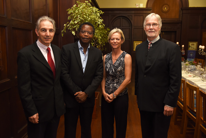 ​​​​​​​(From left) VC Dr Max Price, UCT fellow Prof Alphose Zingoni, UCT fellow Prof Nicola Mulder and DVC Prof Danie Visser.