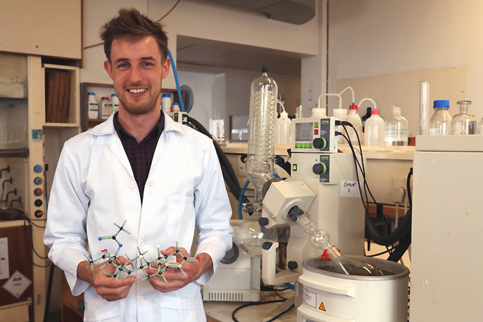 The PhD research of postdoctoral fellow John Woodland focused on providing new insights into the cellular localisation and targets of antimalarial drugs.