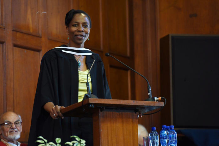​​​​​​​Nomfundo Walaza, executive director at Peace Systems, was guest speaker at this afternoon's ceremony.
