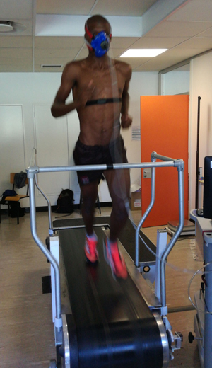 VO2 max testing in the ESSM exercise lab in the Sports Science Institute of South Africa.