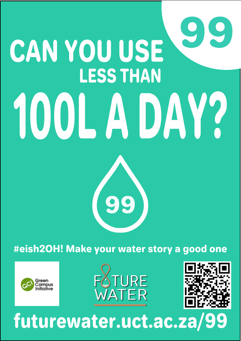 Can you use less than 99 litres per day? Poster prepared for UCT's Water Week 2017 by Bernelle Verster in conjunction with the Future Water Institute and the Green Campus Initiative.
