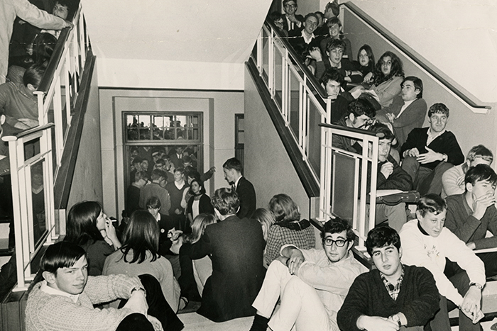 ​​​​​​​Students protest against UCT's withdrawal of Archie Mafeje's appointment following pressure from the apartheid government. Six hundred students occupied the Bremner building and staged a sit-in in the Senate room. <b>Photo</b> Special Collections, UCT Libraries.
