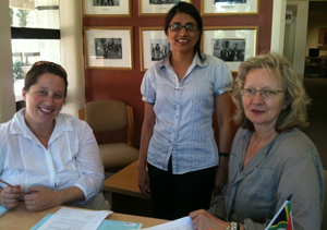 Enabled: Refugee Rights Project director Fatima Khan (middle) with senior Attorney Tal Schreier (left) and lead researcher Vicki Igglesden.