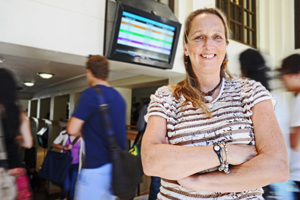 Timely: Assoc Prof Marianne Vanderschuren is test-driving a new traveller information system right here at UCT.