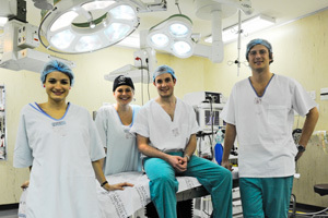 "Stitched up: The UCT Surgical Society encourages membership for ""the most advanced job-shadowing you can get"". In picture are (from left) Nicola Springer (society member), Astrid Leusink (head of sponsorship), Sean Tromp (president), and James Burger (society member)."