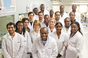 H3-D director Prof Kelly Chibale, (front centre) with his research team. H3-D's partnership with Novartis will augment support already provided by the South African government's Department of Science & Technology and Technology Innovation Agency to build drug discovery and development capabilities on the African continent.