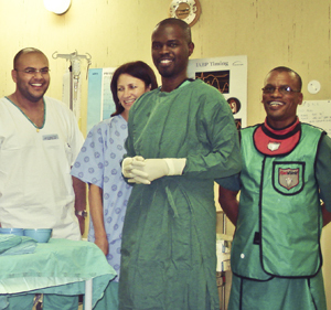 UCT alumnus, James Russell (foreground) set up Sierra Leone's first high-care unit for heart patients, as well as the country's first ultrasound service.