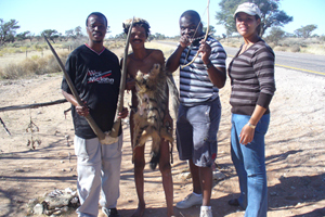 <b>Eco-warriors:</b> from left, Dr Johane Dikgang, Jacobus van Wyk (a Khomani San resident of the Kgalagadi popularly known as 'Patat'), Dr Gladman Thondhlana (a research collaborator from Rhodes University), and Lelani Mannetti (a research collaborator from the University of Stellenbosch).