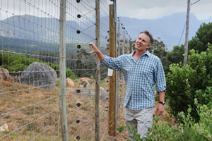 <b>Good neighbours:</b> Prof Justin O'Riain at a game fence erected around Zwaanswyk, on the border of the Tokai Forest, to prevent conflict between humans and their neighbours – wild animals such as the chacma baboon.