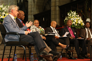 <b>Looking to the future:</b> UCT Vice-Chancellor Max Price (far left) joined his counterparts at St George's Cathedral recently to discuss the role of the university in developing a post-apartheid South Africa. From left: Professor Prins Nevhutalu (CPUT), Professor Irene Moutlana (Vaal University of Technology), Professor Norman Duncan (rep for VC of University of Pretoria), Archbishop Thabo Makgoba who chaired the session and Dr Mvuho Tom (Fort Hare).