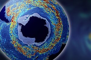 This image of the Antarctic Circumpolar Current indicates current speed: blue shows slow-moving water and dark red indicates speeds of above 1.5km per hour. The pale blue halo around Antarctica indicates sea ice. (Image courtesy of the National Science Foundation)