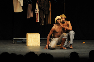 Drama graduates Luc-Given Mkhondo (right) and Yanga Jikela appear in a scene from the play Woza Albert! Their performance formed part of last year's final-year auditions at the Little Theatre on Hiddingh campus.