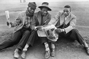 Zootsuit-inspired fashion in Gauteng in the 1950s (the word tsotsi is said to have come from the zootsuit craze). Photograph by Ronald Ngilima, sourced from The Other Camera project, University of Cape Town Libraries.