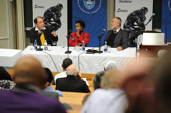 From left: Former Constitutional Court judge Albie Sachs, former UCT Vice-Chancellor Dr Mamphela Ramphele, and Markus Meckel, member of the German parliament, debate the similarities and differences between South Africa and Germany as both countries move forward from difficult political pasts.