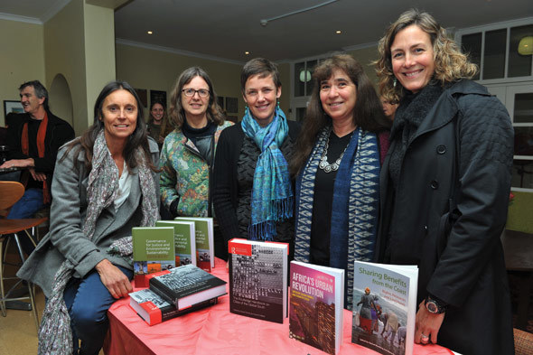 Merle Sowman, Sue Parnell, Sophie Oldfield, Rachel Wynberg and Maria Hauck at the launch of their books in the Environmental & Geographical Sciences building in August.