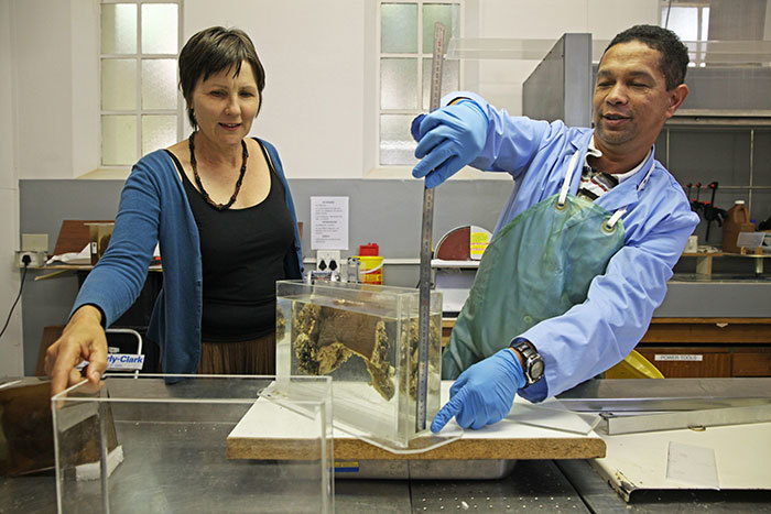 Inside out: (From left) Dr Jane Yeats, curator of the Pathology Learning Centre, with laboratory assistant Melvin Lawrence, measures up a new Perspex container for an internal organ specimen, one of 5 000 specimens held in UCT's pathology collection, part of Clinical Laboratory Services.