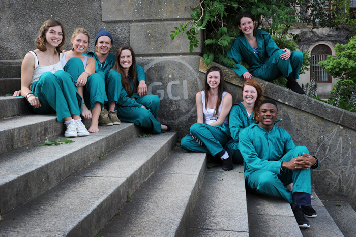 Members of the Green Campus Initiative sit on Jammie Stairs.