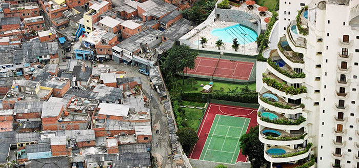 Photo of visible inequality in the Paraisópolis favela in Sao Paulo, Brazil courtesy of the International Monetary Fund.