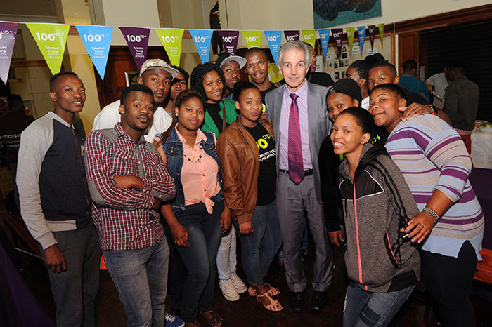 Students shared a light moment with Vice-Chancellor Dr Max Price at the launch of the 100UP Plus programme last year.
