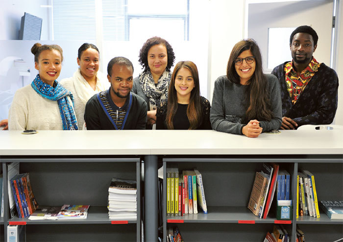 New UCT MMUF fellows will spend a month in the US and are (from left) Qiniso Van Damme, Monique Henry, Ayanda Mahlaba, Jody van der Heyde, Tasneem Amra, Nasrin Olla (MMUF fellow 2011/2012) and Aaron Mulenga.