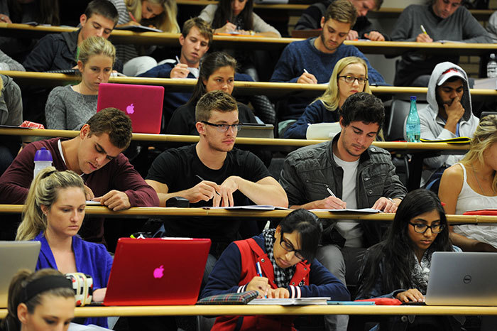 Students in a lecture room.