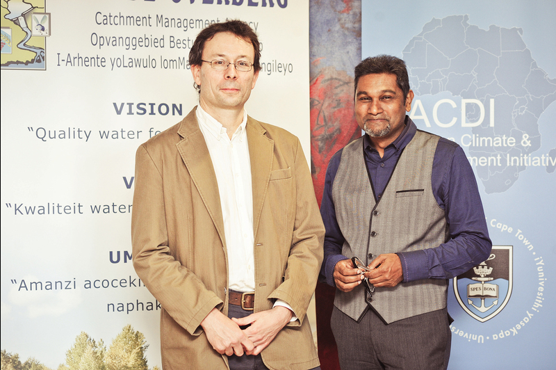 Crisis and opportunity: Dhesigen Naidoo (right), chief executive officer of the Water Research Commission (WRC), with Professor Mark New, Pro Vice-Chancellor: African Climate and Development Initiative, at the recent Pro Vice-Chancellor's Open Lecture.