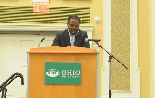 Hero: Professor Francis Nyamnjoh speaks at the prize-giving ceremony at Ohio University where he was named African Hero of the Year 2013.
