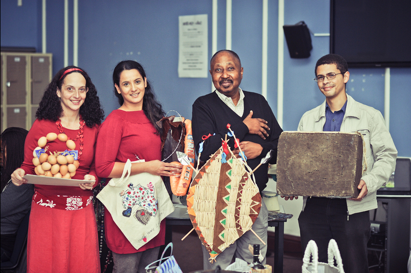 The Unibag Competition at the iKhaya Day House attracted much attention. Seen here are holding some of the students' most innovative Unibags are (from left) Cal Volks (HAICU director), Sianne Abrahams (HAICU), Prof Thandabantu Nhlapo (DVC) and Fabian Saptouw (fine art lecturer).