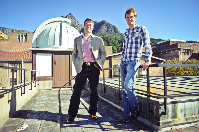 First paper: Dr Richard Armstrong (right) and Assoc Prof Patrick Woudt,on top of UCT's RW James Building, home to the astronomy department.Armstrong is the first author of a scientific paper based on observations performed with South Africa's new KAT-7 radio telescope.Woudt and Prof Rob Fender (not in picture) of the University of Southampton and a SKA visiting professor at UCT are co-authors.