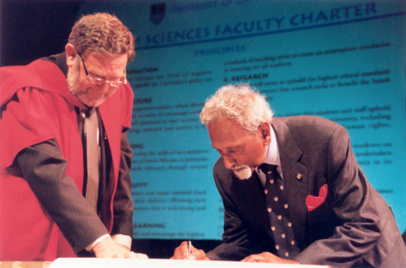 Signed and sealed: Among those who signed the Faculty of Health Sciences' new Charter were Prof Ralph Kirsch(left), and special guest Dr Ralph Lawrence. Dr Lawrence was one of the first three black doctors to graduate from the Faculty in 1947. To mark the occasion, Dr Lawrence was awarded the title Honorary Visiting Professor. The Charter was signed and presented at a special Health Sciences assembly last week to mark significant milestones in the Faculty's process of renewal and change.