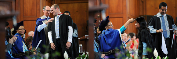 Father's footsteps: Prof Alastair Millar (BACK), of UCT's Division of Paediatric Surgery, hoods his son and MBChB graduate, James Millar - excuse us, Dr James Millar - at this morning's graduation ceremony for the Faculty of Health Sciences.