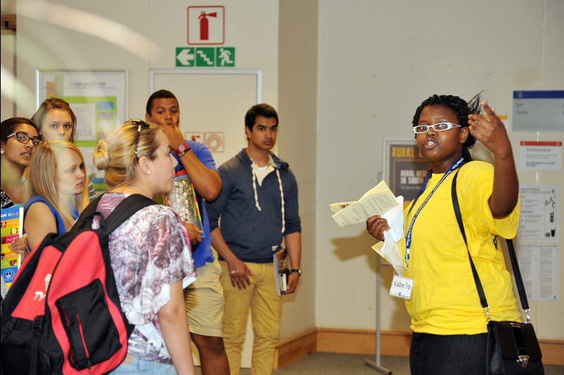 Take it all in: First-year Commerce students sought refuge from the heat and stairs in UCT's Chancellor Oppenheimer Library during their first official tour of the university and its facilities.