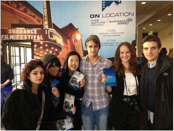 Silver screen: UCT students Katey Carson (second from right) and Dylan Bosman (third from right) at the Sundance Film Festival in Los Angeles, where their short films were screened.