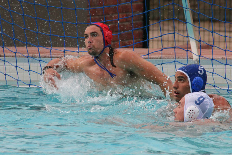 I've got this: Matthieu Theron, goalkeeper for the Ikey water polo team, launches himself across the Ikey goal at the USSA Sports Week in December last year.