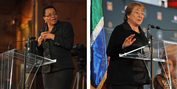 Mrs Graça Machel (left), UCT Chancellor, and Chilean President Michelle Bachelet shared similar views on the extent of gender violence in the world and what needs to be done about it. Both spoke at the Gender-in-Dialogue event, which formed part of the 12th Nelson Mandela Annual Lecture Series.