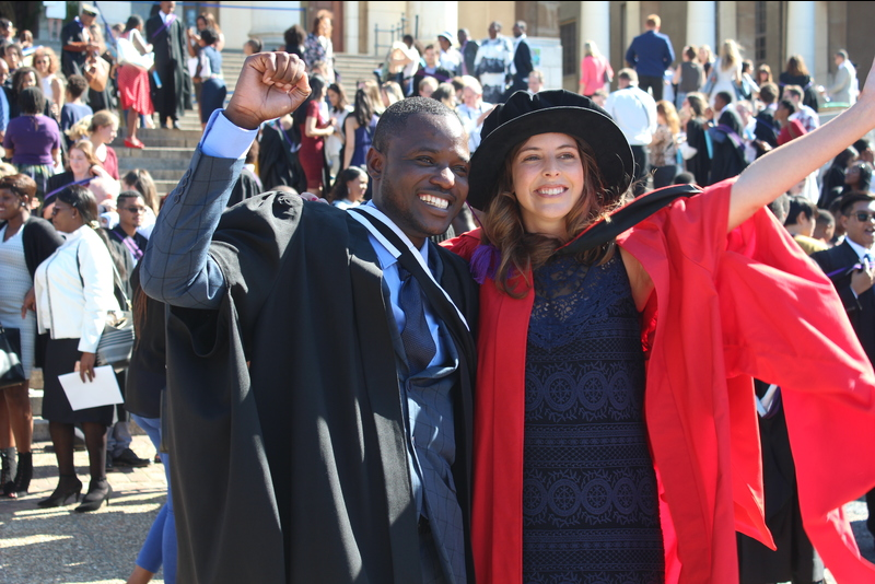 Abigail Moffett and her colleague Robert Nyamushosho from the archaeology department are among the 4 500 graduands who were capped this week.