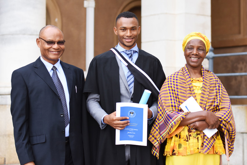 Dr Matthew Amoni scored a 'two-in-one': he was awarded an MBChB and Master of Medicine in Physiology, which he did in tandem with his medical studies. His parents, John and Mary Amoni, were at UCT to share the happy occasion.