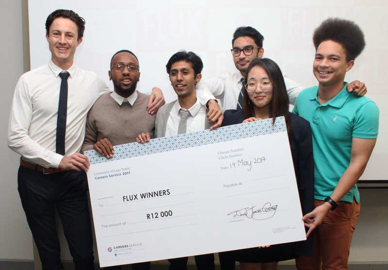 StartSmart took the R12 000 cash prize at this year's FLUX business game for their business idea, which aims to help students grow throughout their academic careers.